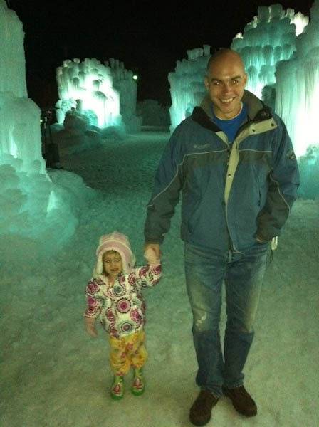 Evelyn and Ryan at the Ice Castles