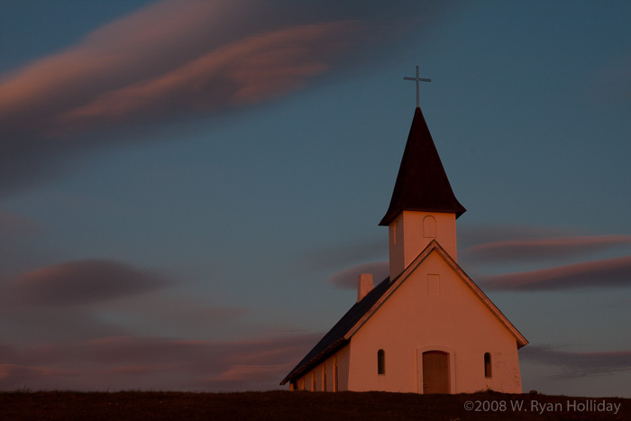 Breidavik church at sunset