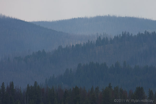 Smoky landscape in Central Idaho