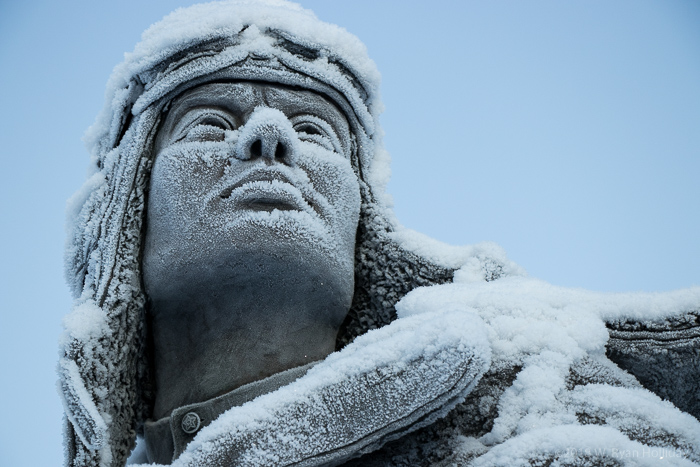 Statue in Griffin Park, Fairbanks in Winter